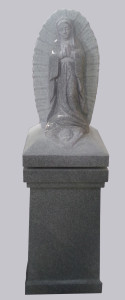 Our Lady of Guadalupe lid on square pedestal